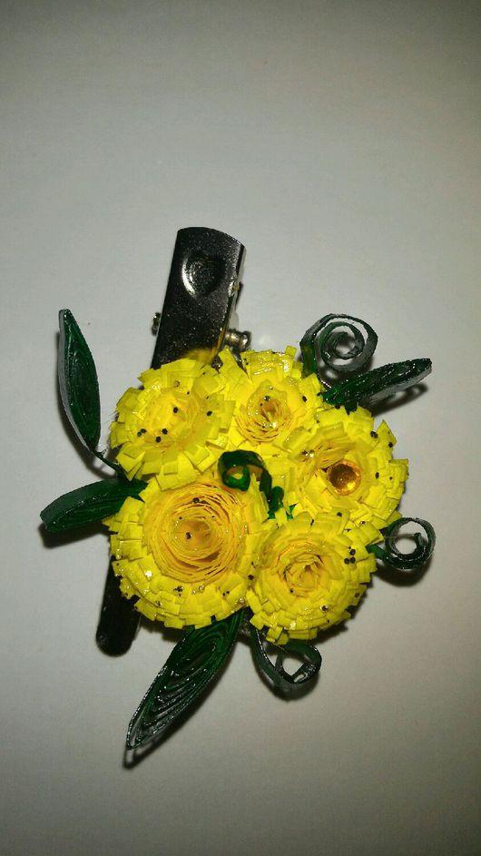 Броши ручной работы. Ярмарка Мастеров - ручная работа. Купить Брошь, заколка солнечные цветы. Handmade. Розы, зажим для волос