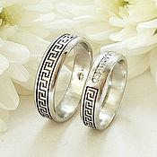 Свадебный салон handmade. Livemaster - original item Wedding rings with Greek ornament, silver, cubic Zirconia (Ob7). Handmade.