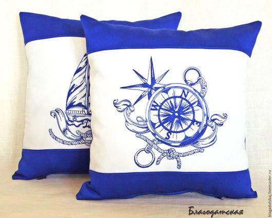 Текстиль, ковры ручной работы. Ярмарка Мастеров - ручная работа. Купить Подушка Морская. Handmade. Синий, подушка на диван, морской