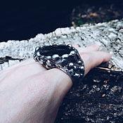 """Кольцо на два пальца """"VOLCANO"""" с натуральным астрофиллитом"""