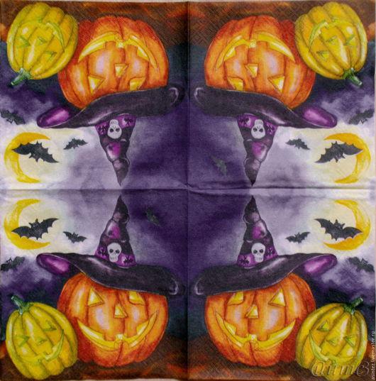 Декупаж и роспись ручной работы. Ярмарка Мастеров - ручная работа. Купить салфетки для декупажа halloween, хэлоуин тыква ночь принт декупажный. Handmade.