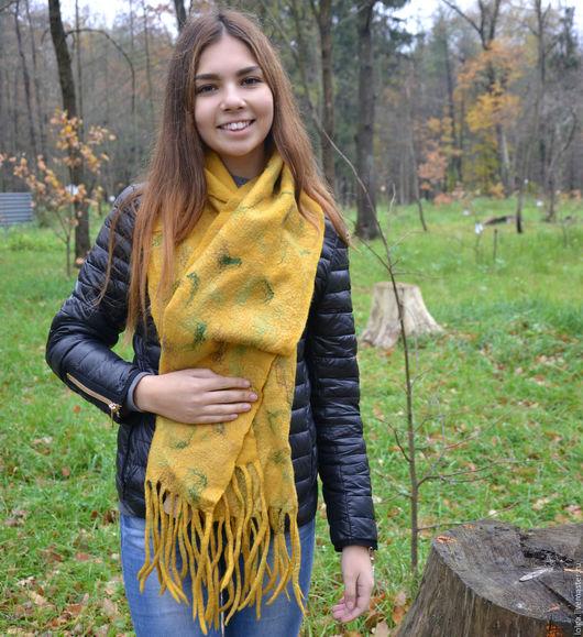 Шарфы и шарфики ручной работы. Ярмарка Мастеров - ручная работа. Купить Шарф. Handmade. Желтый, теплый шарф