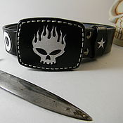 Straps handmade. Livemaster - original item Men`s belt ,leather.The Offspring. Handmade.