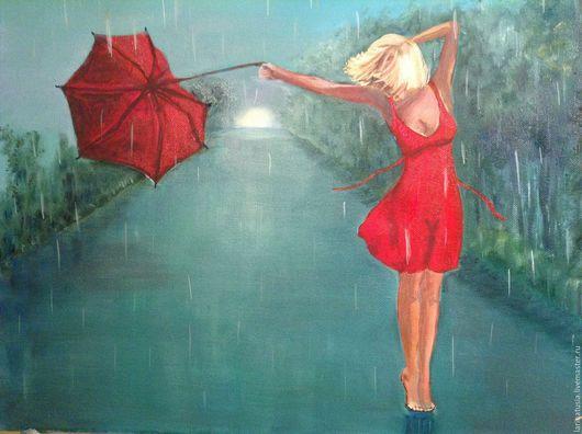 Люди, ручной работы. Ярмарка Мастеров - ручная работа. Купить Девушка и зонтик. Handmade. Морская волна, картина в подарок, интерьер