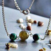Украшения handmade. Livemaster - original item Necklace with malachite and green pomegranate