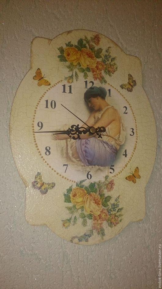 """Часы для дома ручной работы. Ярмарка Мастеров - ручная работа. Купить Часики """"Время весны"""". Handmade. Лимонный, часы в подарок"""