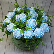 Косметика ручной работы handmade. Livemaster - original item Bouquet of blue peonies in a hatbox. Handmade.