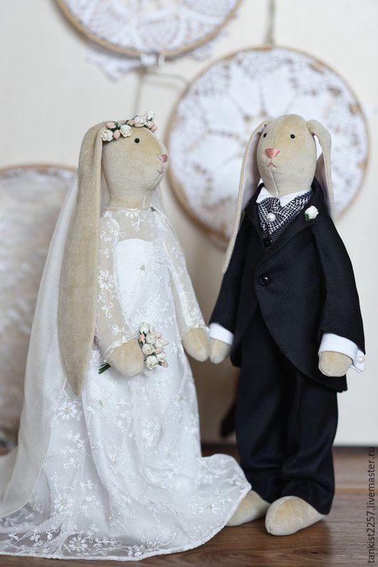 Коллекционные куклы ручной работы. Ярмарка Мастеров - ручная работа. Купить свадебная пара,зайцы тильда. Handmade. Зайцы тильда
