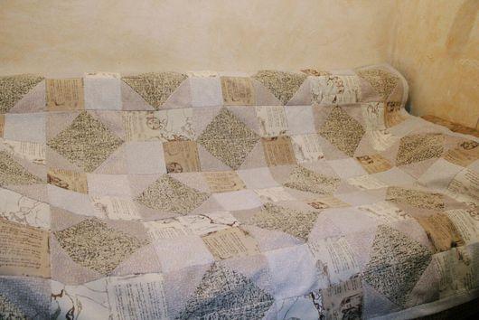 Текстиль, ковры ручной работы. Ярмарка Мастеров - ручная работа. Купить Лоскутный плед. Handmade. Бежевый, плед, покрывало на кровать