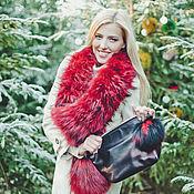 Аксессуары handmade. Livemaster - original item Raccoon fur scarf in red. Handmade.