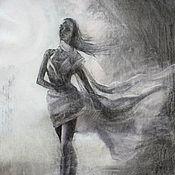 Картины и панно handmade. Livemaster - original item Graphics .Original drawing .Ballerina . Сharcoal drawing. Handmade.