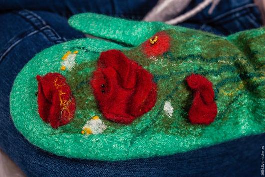 """Варежки, митенки, перчатки ручной работы. Ярмарка Мастеров - ручная работа. Купить Валяные рукавички """"Маковое поле"""". Handmade. маки"""