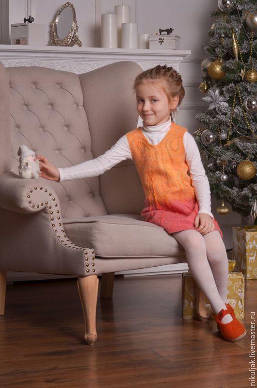 Одежда для девочек, ручной работы. Ярмарка Мастеров - ручная работа. Купить Платье валяное для девочек sunset. Handmade. Оранжевый