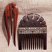 Украшения handmade. Livemaster - original item Hair wooden comb micromosaic inlay, set accessories. Handmade.
