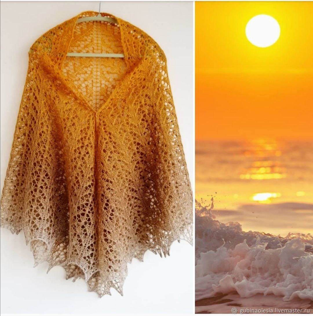 Солнце и песок, шаль из 100% итальянский меринос, Шали, Курган,  Фото №1