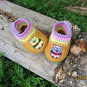 """Работы для детей, ручной работы. Ярмарка Мастеров - ручная работа валяные пинетки (тапочки) """"Совушки"""". Handmade."""
