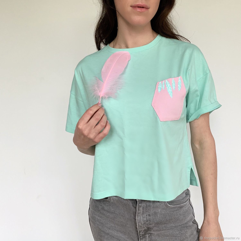 Mint t-shirt with pink feather pocket, T-shirts, Krasnodar,  Фото №1