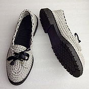 Обувь ручной работы. Ярмарка Мастеров - ручная работа Мокасины вязаные, серый, хлопок, лен. Handmade.
