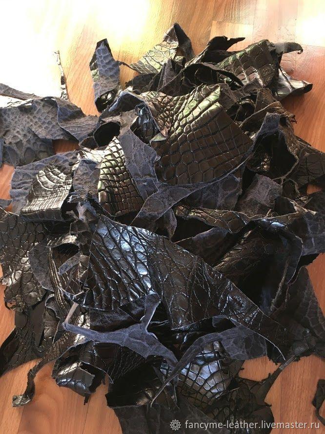 Кожа крокодила лоскут черный, Кожа, Москва,  Фото №1