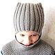 Тёплый комплект для мальчика `Ушки на макушке`. Шапка с завязками и снуд-оплечье. В таком комлекте Вашему ребёнку будет удобно, тепло и уютно.