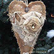 Подарки к праздникам ручной работы. Ярмарка Мастеров - ручная работа Сердце интерьерное большое из мешковины Винтаж. Handmade.