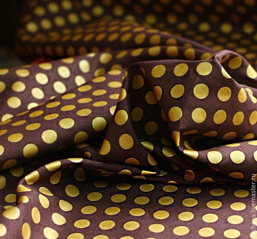 Шитье ручной работы. Ярмарка Мастеров - ручная работа. Купить Ткань льняная-золотой горох. Handmade. Коричневый, льняная ткань