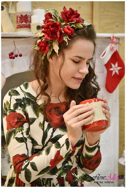 """Цветы ручной работы. Ярмарка Мастеров - ручная работа. Купить Ободок с красными розами-""""Red Velvet"""". Цветы из шелка.. Handmade."""