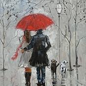 Картины и панно ручной работы. Ярмарка Мастеров - ручная работа Современная картина маслом - пара под дождем с собаками. Handmade.
