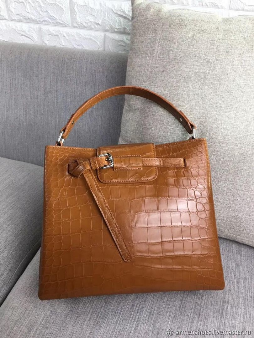 Classic crocodile leather bag in light brown, Classic Bag, Tosno,  Фото №1
