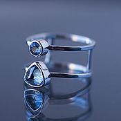 handmade. Livemaster - original item Double silver ring with a Topaz Sky. Handmade.