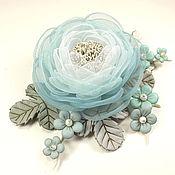 Украшения handmade. Livemaster - original item The Cloud Garden Rose. Brooch with flowers made of fabric and genuine leather. Handmade.