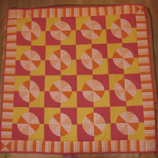 """Пледы и одеяла ручной работы. Ярмарка Мастеров - ручная работа. Купить """"Апельсины-мандарины"""". Handmade. Оранжевый, лоскутное одеяло, печворк"""