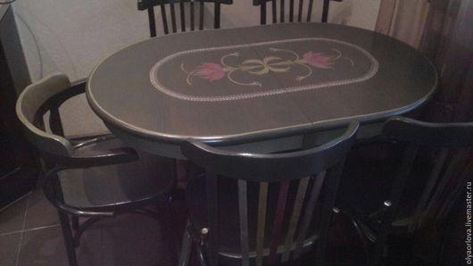 Мебель ручной работы. Ярмарка Мастеров - ручная работа. Купить Перекраска и роспись комода, стульев, стола.. Handmade. Комбинированный, стол