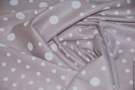 """Шитье ручной работы. Ярмарка Мастеров - ручная работа. Купить Лён """"Белый горох на бледно-розовом"""". Handmade. Бледно-розовый"""