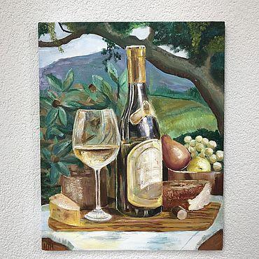 Картины и панно ручной работы. Ярмарка Мастеров - ручная работа Картины: Натюрморт с белым вином, прованс. Handmade.