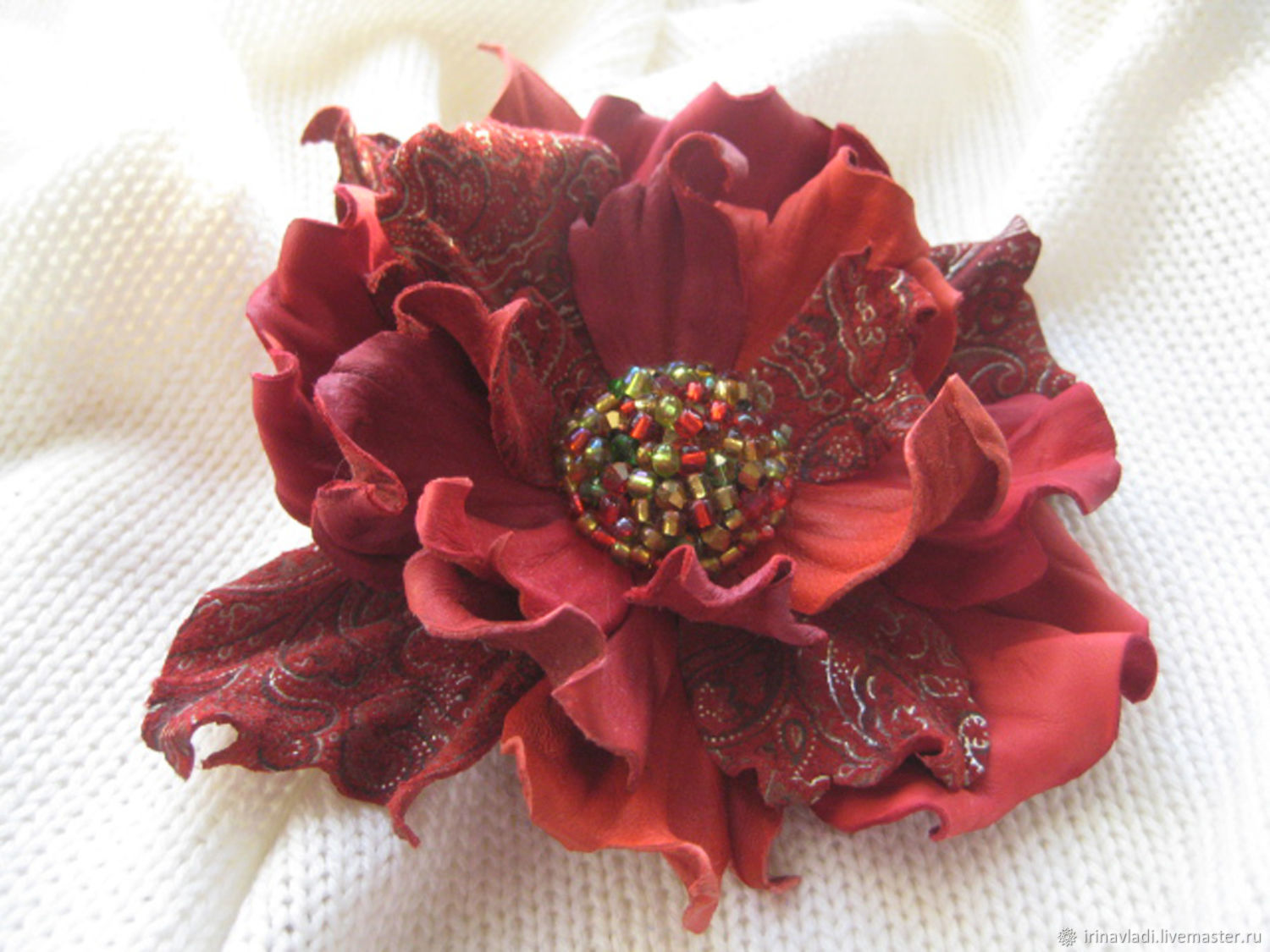 Leather red flower brooch leather clip RED FLOWER, Brooches, Rostov-on-Don,  Фото №1