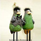 """Для дома и интерьера ручной работы. Ярмарка Мастеров - ручная работа """"Вороны  зеленые """", фигурки интерьерные. Handmade."""