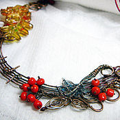"""Necklace handmade. Livemaster - original item Copper wire wrapped necklace """"Russian song"""". Handmade."""