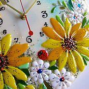 Для дома и интерьера ручной работы. Ярмарка Мастеров - ручная работа фюзинг, часы из стекла  Божьи коровки. Handmade.