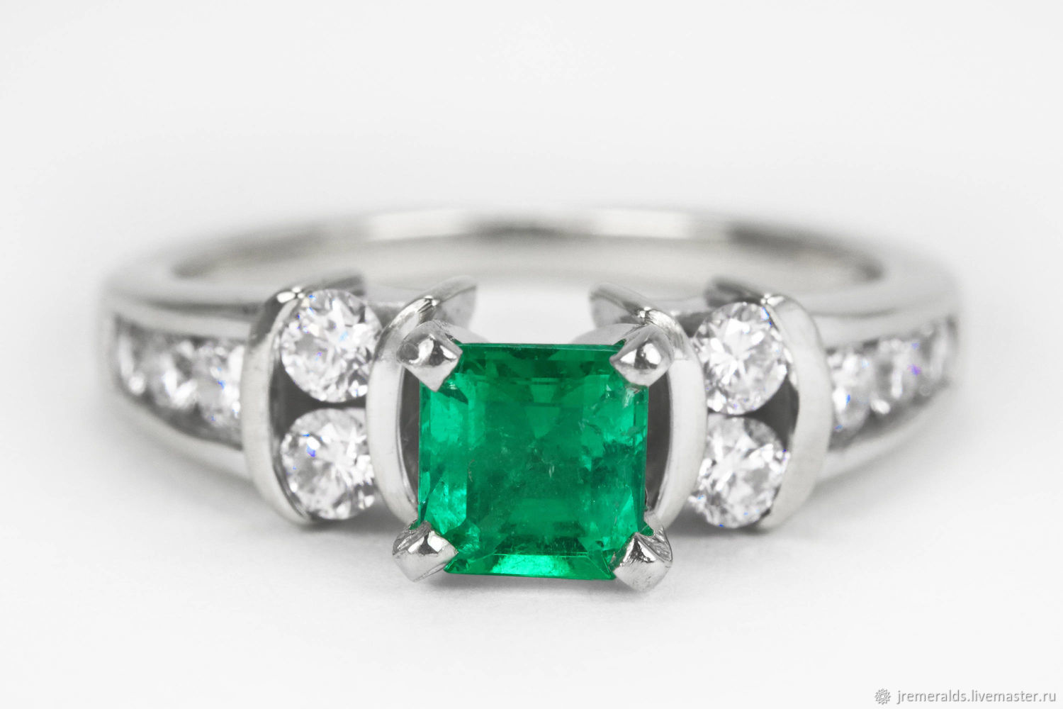 Platinum & 18K Emerald Engagement Ring, AAA+ Colombian Emerald Ring, F, Rings, West Palm Beach,  Фото №1