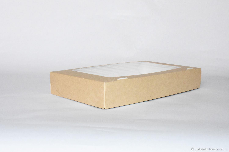 Крафт-коробка с окном 250х150х40мм, Коробки, Москва,  Фото №1