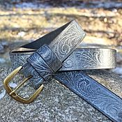 Аксессуары handmade. Livemaster - original item Straps: Blue-blue belt with metal buckle. Handmade.