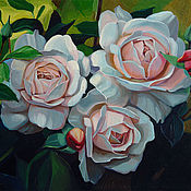 Картины и панно handmade. Livemaster - original item Pictures: Pictures: Painting with roses, oil on canvas 30h40cm. Handmade.