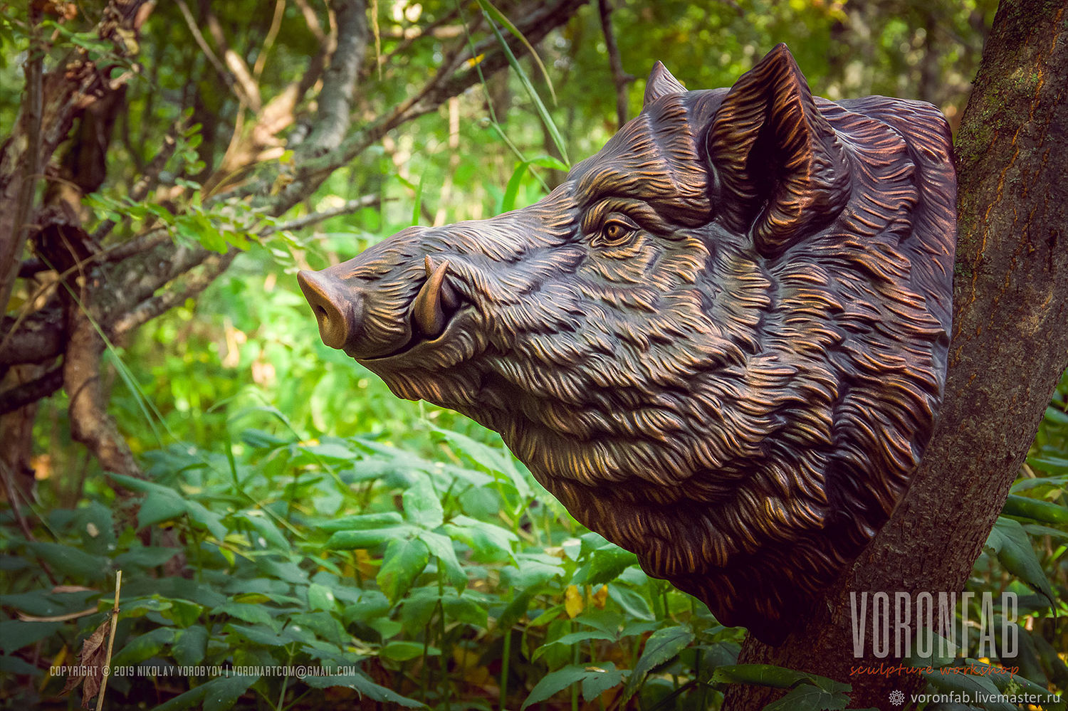 Wild boar, animal head. Trophy sculpture, bronze imitation 30cm, Sculpture, Vologda,  Фото №1