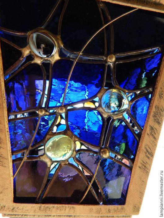 """Освещение ручной работы. Ярмарка Мастеров - ручная работа. Купить Фонарь """"Загадки Вселенной"""". Handmade. Фонарь, стекло, бронзовый, фиолетовый"""