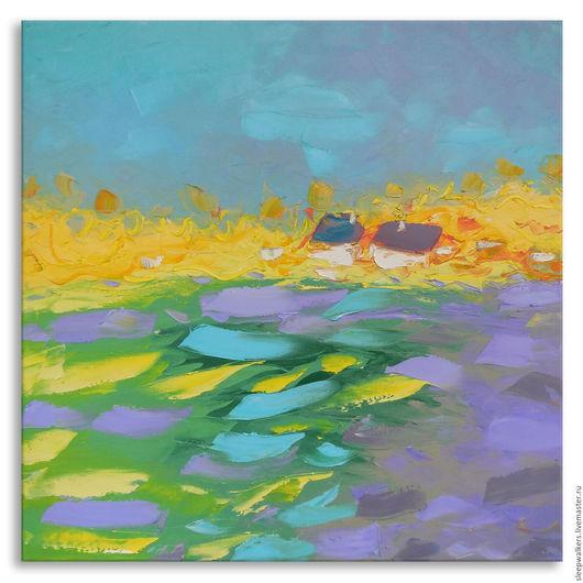 """Пейзаж ручной работы. Ярмарка Мастеров - ручная работа. Купить """"Blueberry day"""" 65х65 см большая картина маслом мастихином пейзаж. Handmade."""