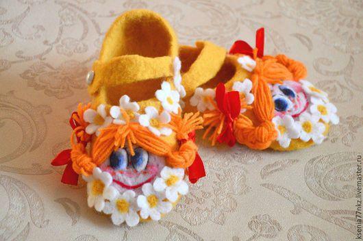 """Детская обувь ручной работы. Ярмарка Мастеров - ручная работа. Купить Туфельки детские """"Маруся и ромашки"""". Handmade. Цветочный"""