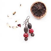 Серьги классические ручной работы. Ярмарка Мастеров - ручная работа Сережки с семечком лотоса из Варанаси и красным цветком лотоса. Handmade.
