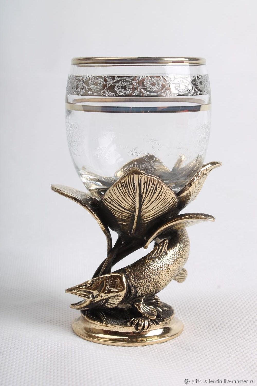 Shot glass 'Rich catch' Pike, Shot Glasses, Vacha,  Фото №1