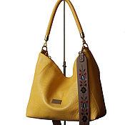 Сумки и аксессуары handmade. Livemaster - original item Yellow leather bag with embroidered strap. Handmade.